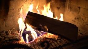 Φλόγες πυρκαγιάς στα ξύλινα κούτσουρα που καίνε στην εστία στο σκοτάδι απόθεμα βίντεο
