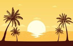 Φοίνικας σκιαγραφιών στην παραλία στο επίπεδο σχέδιο εικονιδίων κάτω από το υπόβαθρο ουρανού ηλιοβασιλέματος διανυσματική απεικόνιση