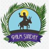 Φοίνικες γύρω από τον κύκλο με τον Ιησού σε έναν γάιδαρο για την Κυριακή φοινικών, διανυσματική απεικόνιση