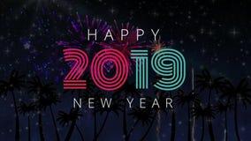 Φοίνικες και πυροτεχνήματα ενάντια σημάδι 4k έτους του 2019 στο νέο φιλμ μικρού μήκους