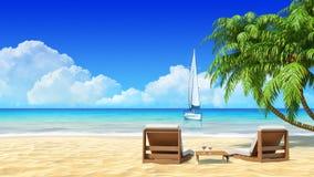 Φοίνικες, μόνιππο longue στην τροπική παραλία. Ταξίδι, διακοπές, θέρετρο απεικόνιση αποθεμάτων