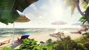 Φοίνικες πέρα από το τροπικό νησί με την εξωτική άσπρη παραλία μέσα στην ηλιόλουστη ημέρα με το μπλε ουρανό Όμορφος άνευ ραφής πε διανυσματική απεικόνιση