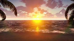 Φοίνικες σε ένα τροπικό νησί με την μπλε θάλασσα και όμορφη παραλία σε ένα ηλιοβασίλεμα κύματα θερινών ήλιων σκηνής φοινικών Loop διανυσματική απεικόνιση