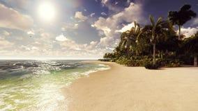Φοίνικες σε ένα τροπικό νησί με την μπλε ωκεάνια και άσπρη παραλία μια ηλιόλουστη ημέρα όμορφο καλοκαίρι σκηνής απεικόνιση αποθεμάτων