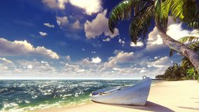 Φοίνικες σε ένα τροπικό νησί με την μπλε ωκεάνια, παλαιά βάρκα και άσπρη παραλία μια ηλιόλουστη ημέρα όμορφο καλοκαίρι σκηνής διανυσματική απεικόνιση