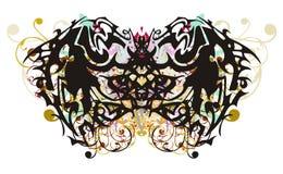 Φοβερή φυλετική πεταλούδα με τους ζωηρόχρωμους floral παφλασμούς διανυσματική απεικόνιση