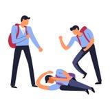 Φοβερίστε τους χούλιγκαν που κτυπούν φυσικά αδύνατο συντροφικό να βρεθεί σπουδαστών στο έδαφος διανυσματική απεικόνιση