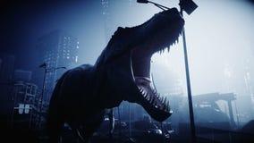 Φοβερός δεινόσαυρος trex στη νύχτα πόλη Έννοια αποκάλυψης Ρεαλιστική 4K ζωτικότητα απεικόνιση αποθεμάτων