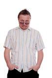 φοβισμένα καυκάσια γυαλιά το κοιτάζοντας άτομό του Στοκ Φωτογραφίες