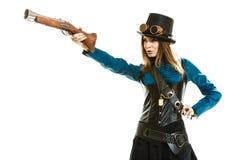 Φοβιτσιάρες κορίτσι στο ύφος steampunk Στοκ φωτογραφία με δικαίωμα ελεύθερης χρήσης