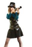 Φοβιτσιάρες κορίτσι στο ύφος steampunk Στοκ εικόνες με δικαίωμα ελεύθερης χρήσης
