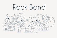 Φοβιτσιάρης ορχήστρα ροκ ζώων Χαριτωμένη απεικόνιση μουσικής παιδιών διανυσματική απεικόνιση