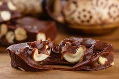 Φοντάν σοκολάτας με το το δυτικό ανακάρδιο Στοκ Φωτογραφία