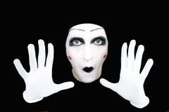 φορά γάντια mime στο λευκό πορτρέτου Στοκ Εικόνες