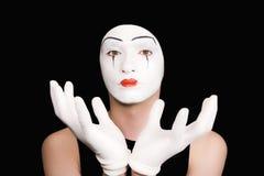 φορά γάντια mime στο λευκό πο&rh Στοκ Εικόνα