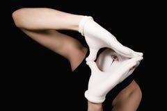 φορά γάντια mime στο λευκό πο&rh Στοκ εικόνα με δικαίωμα ελεύθερης χρήσης