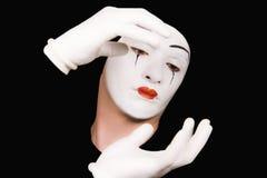 φορά γάντια mime στο λευκό πο&rh Στοκ φωτογραφίες με δικαίωμα ελεύθερης χρήσης