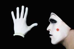 φορά γάντια mime στο λευκό Στοκ Εικόνα