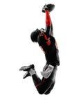 Φορέας αμερικανικού ποδοσφαίρου που πιάνει τη σκιαγραφία σφαιρών Στοκ εικόνες με δικαίωμα ελεύθερης χρήσης