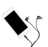 Φορέας μουσικής Smartphone και earbuds Στοκ εικόνα με δικαίωμα ελεύθερης χρήσης