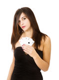 Φορέας πόκερ γυναικών με τους άσσους στοκ εικόνες