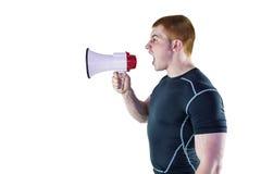 0 φορέας ράγκμπι που φωνάζει μέσω megaphone Στοκ εικόνες με δικαίωμα ελεύθερης χρήσης
