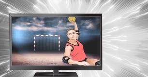 φορέας χάντμπολ στην τηλεόραση στοκ εικόνα