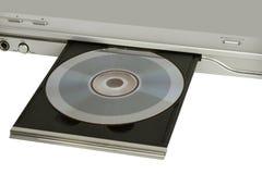 Φορέας DVD με τη ληφθείσα δίσκος κινηματογράφηση σε πρώτο πλάνο στο λευκό Στοκ φωτογραφίες με δικαίωμα ελεύθερης χρήσης