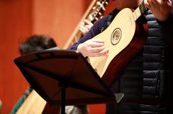 Φορέας Pipa Συνθέτης, μουσική Πορτρέτο της παίζοντας κλασικής μουσικής ατόμων σε Pipa στο μαύρο υπόβαθρο Copyspace στοκ φωτογραφία