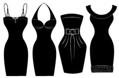 Φορέματα γυναικών το ειδικό συμβαλλόμενο μέρος που απομονώνεται για στο λευκό   Στοκ Εικόνες