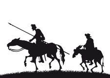 Φορέστε Δον Κιχώτης και Sancho Panza διανυσματική απεικόνιση