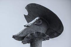 Φορέστε το άγαλμα Δον Κιχώτης με το κράνος Mambrino στοκ εικόνα