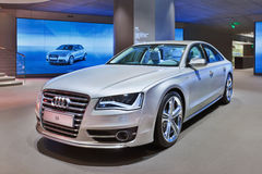 Φορείο Audi S8 σε μια αίθουσα εκθέσεως, Πεκίνο, Κίνα Στοκ φωτογραφίες με δικαίωμα ελεύθερης χρήσης