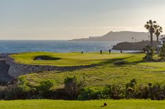 Φορείς γκολφ σε έναν πράσινο απασχολώντας τον Ατλαντικό Ωκεανό στο νησί Στοκ φωτογραφία με δικαίωμα ελεύθερης χρήσης