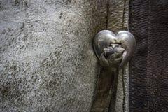 Φορεμένο δέρμα με μια πόρπη καρδιών Στοκ φωτογραφίες με δικαίωμα ελεύθερης χρήσης