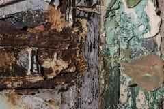 Φορεμένο σύσταση χρώμα, σύσταση του φορεμένου χρώματος στο σκουριασμένο κατώτατο σημείο μετάλλων στοκ εικόνες