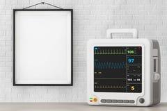 Φορητός καρδιακός εξοπλισμός ελέγχου υγειονομικής περίθαλψης μπροστά από το BR διανυσματική απεικόνιση