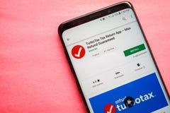 Φορολογική επιστροφή App TurboTax στοκ εικόνες