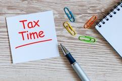 φορολογικός χρόνος Εργασιακός χώρος με την ανακοίνωση για τους φόρους και το φλυτζάνι καφέ πρωινού Στοκ Εικόνες
