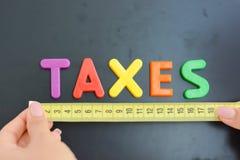 Φορολογική έννοια μέτρου σε μια επιχείρηση, μια επιχείρηση ή μια οικονομία Στοκ Εικόνες