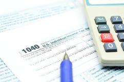 1040 φορολογική έντυπο φορολογικής δήλωσης Στοκ Εικόνες