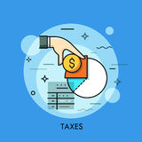 Φορολογική μορφή, νόμισμα δολαρίων εκμετάλλευσης χεριών και εισοδηματικό διάγραμμα διανυσματική απεικόνιση