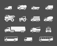 Φορτηγά και εικονίδια λεωφορείων ελεύθερη απεικόνιση δικαιώματος