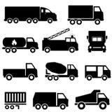 Φορτηγά και σύνολο εικονιδίων μεταφορών Στοκ φωτογραφία με δικαίωμα ελεύθερης χρήσης