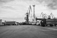 Φορτηγά που περιμένουν στη γραμμή στο λιμένα της μεταφόρτωσης Στοκ Φωτογραφίες