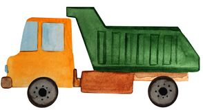 Φορτηγό απορρίψεων φορτηγών σε ένα άσπρο υπόβαθρο απεικόνιση watercolor για το σχέδιο απεικόνιση αποθεμάτων