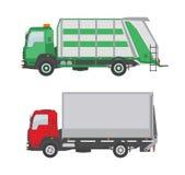 Φορτηγό απορριμάτων και φορτηγό που απομονώνονται στο άσπρο υπόβαθρο Στοκ φωτογραφίες με δικαίωμα ελεύθερης χρήσης