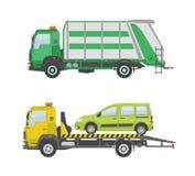 Φορτηγό απορριμάτων και φορτηγό ρυμούλκησης που απομονώνονται στο άσπρο υπόβαθρο Στοκ Φωτογραφία
