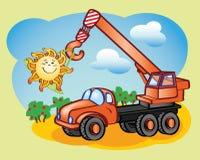 Φορτηγό-γερανός διασκέδασης και ο ήλιος Στοκ φωτογραφία με δικαίωμα ελεύθερης χρήσης