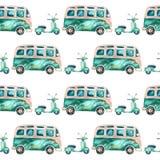 Φορτηγό και μηχανικό δίκυκλο τροχόσπιτων χίπηδων Watercolor Στοκ Φωτογραφίες